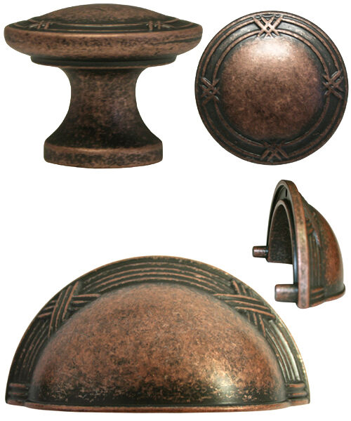 Antique Copper Ribbon & Reed Kitchen Cabinet Drawer Knobs