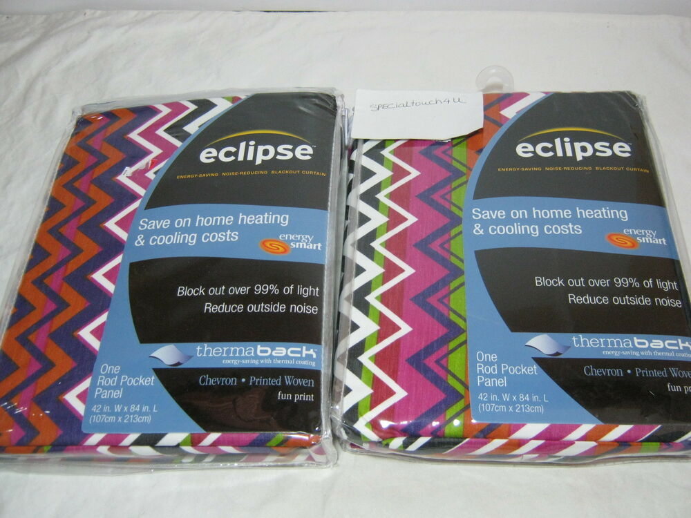 Kendall rod pocket curtain panel ebay - New Eclipse Thermaback Chevron Fun Print Woven Window