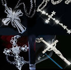 Fashion Sparkly Diamante Crystal Cross Silver Necklace Pendant For Women Ladies