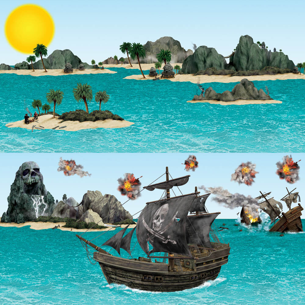 Pirate Kids Party Scene Setter Ship & Island Props