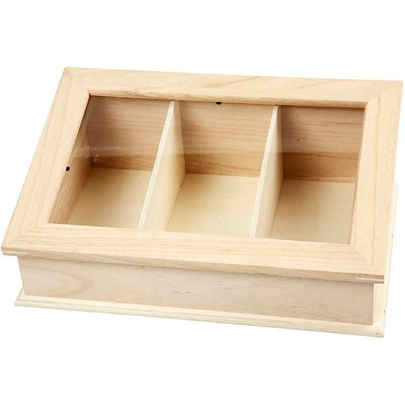 Plain wooden glass sloping lid display box storage 3 for Glass boxes for crafts