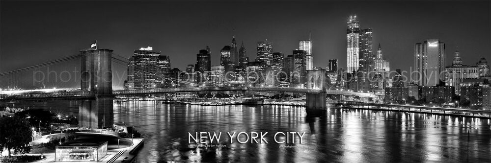 bw new york city nyc brooklyn bridge manhattan skyline pano photo print 12x36 ebay. Black Bedroom Furniture Sets. Home Design Ideas