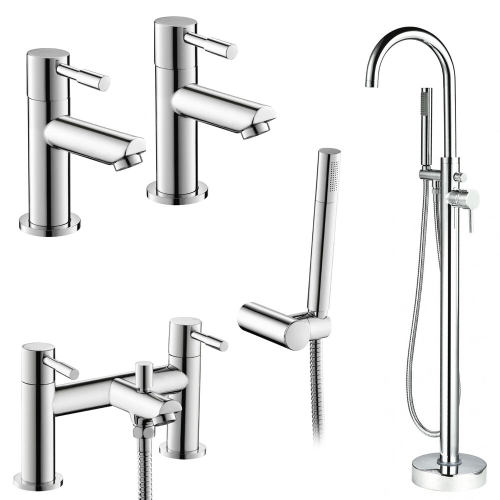 modern bathroom chrome basin sink shower freestanding bath mixer