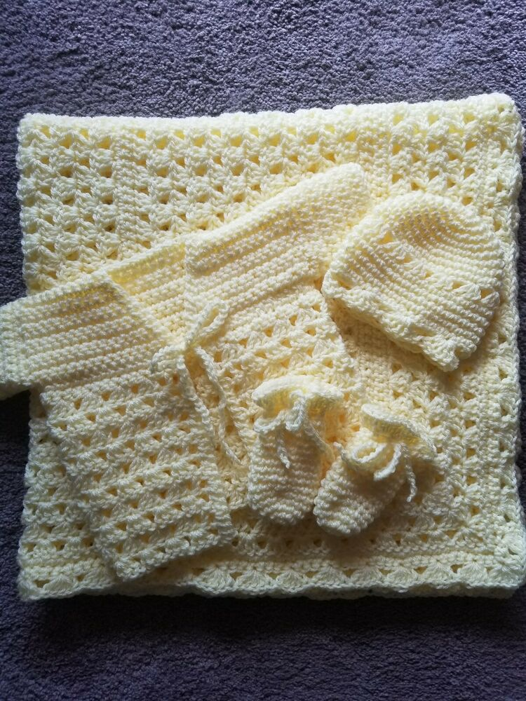 Crochet Baby Blanket With Sweater Cap And Booties Yellow