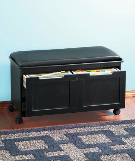 New Wooden 2 Draw Walnut Or Black Cushioned File Bench W