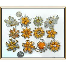 6pc Orange Brooches WHOLESALE LOT Bling Rhinestone BROOCH PIN Wedding