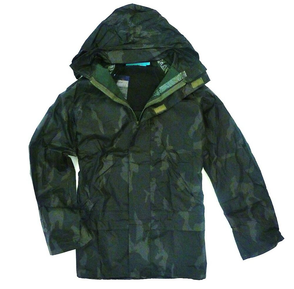 Stealth camo waterproof windproof jacket fishing kagool for Waterproof fishing jacket