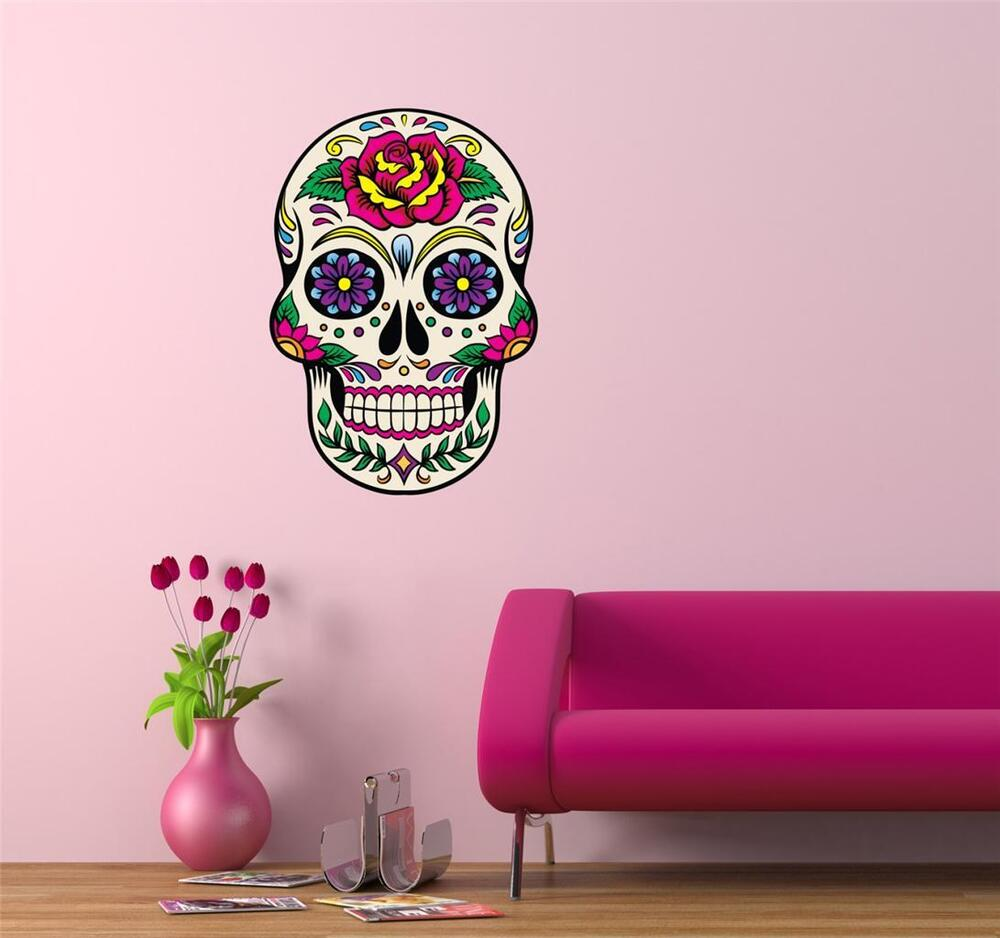 wall art sticker decal tattoo day of the dead sugar. Black Bedroom Furniture Sets. Home Design Ideas