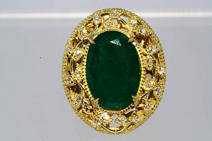 $20 000 11 56Ct Natural Emerald & Diamond Ring 18K