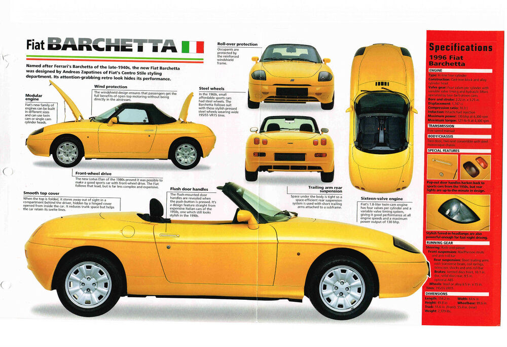 1995 1996 fiat barchetta spec sheet brochure catalog. Black Bedroom Furniture Sets. Home Design Ideas