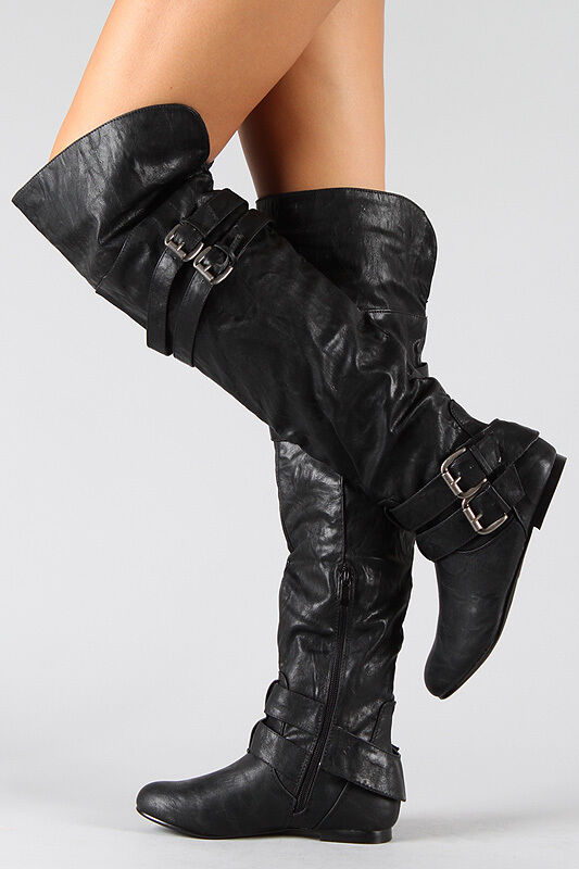 new buckle slouchy thigh high boots shoes size