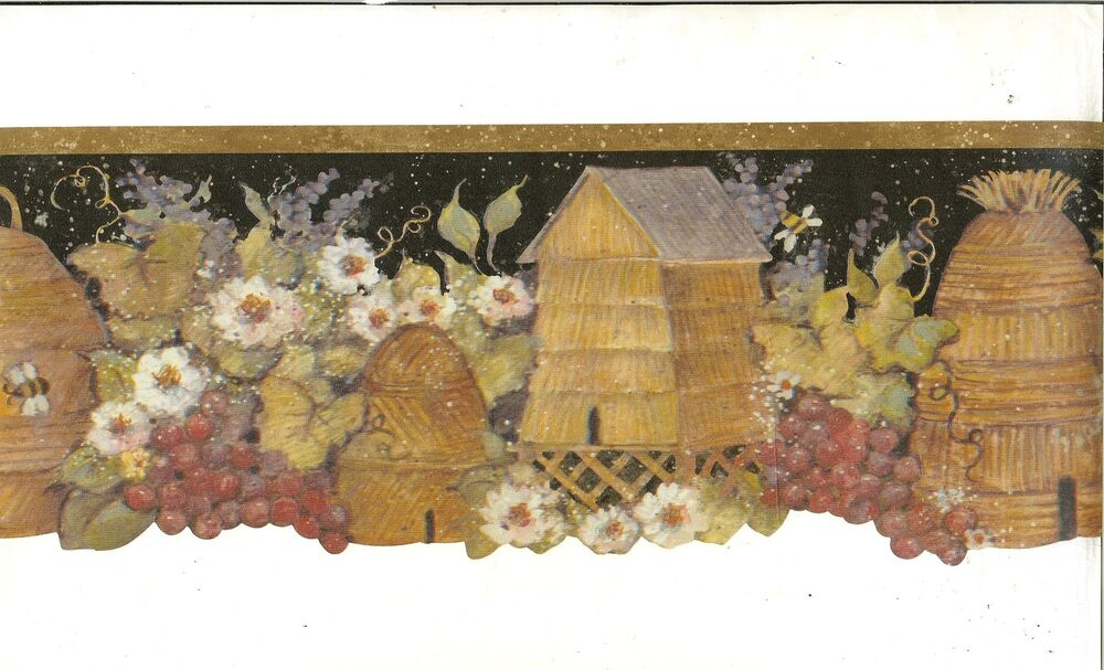 Susan Winget Bee Hives and Bumble Bees Floral and Ivy Wallpaper Border ...
