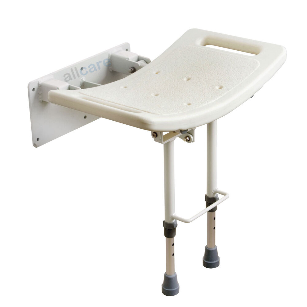 Wall Mounted Shower Seat Chair With Fold Up Drop Down Height Adjustable Legs