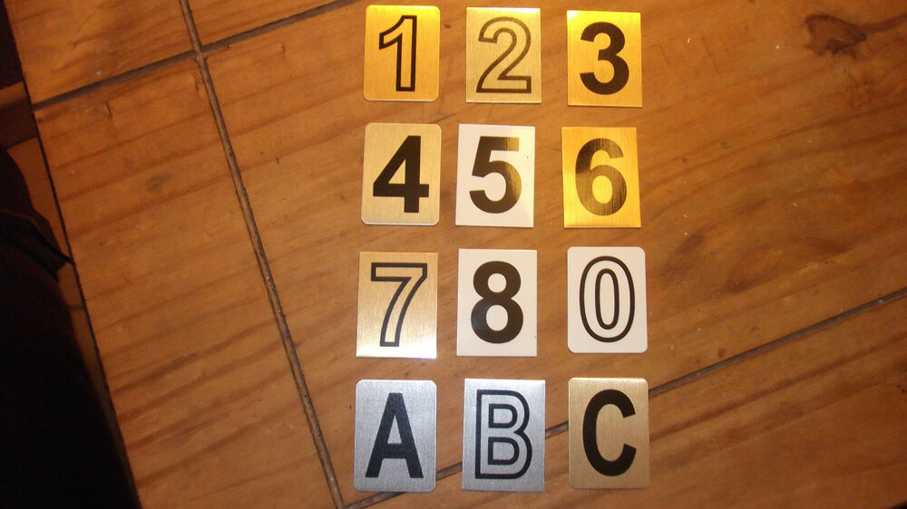 Door numbers door letters aluminium self adhesive stick for Self adhesive house numbers and letters