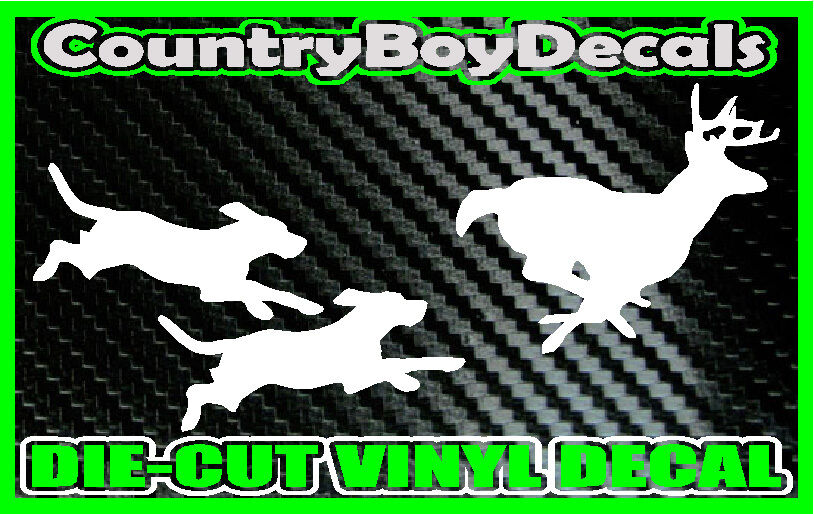 Dogs Chasing Deer Vinyl Decal Sticker Hunting Hounds