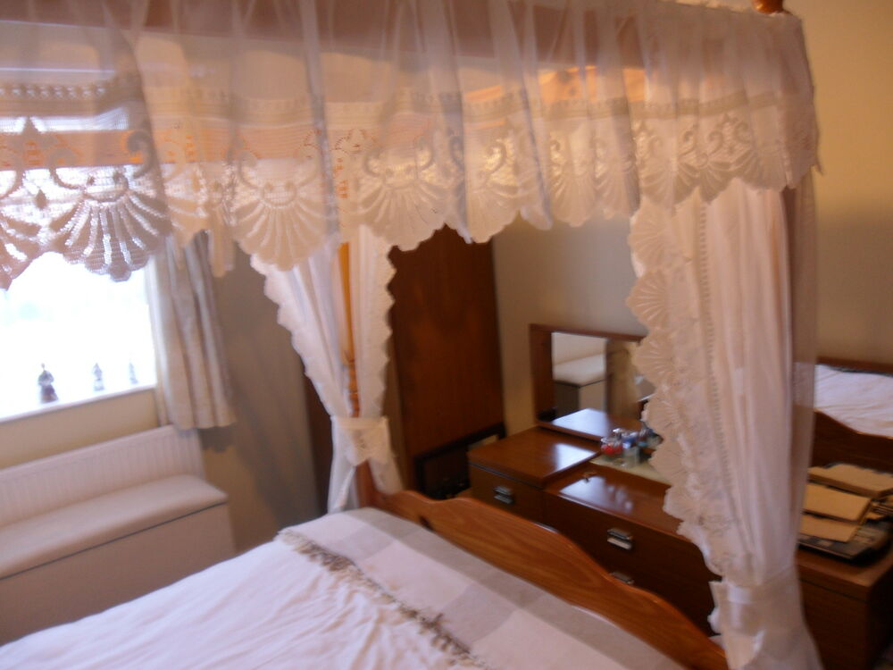 White or cream luxury lace trimmed four poster drapes and - Four poster bed curtains ...