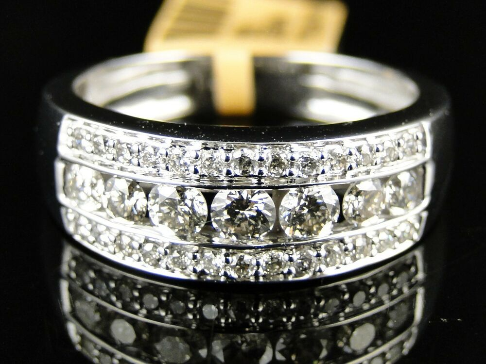 14K New Mens White Gold Round Cut Diamond Ring Wedding Band 12 Ct 75 Mm