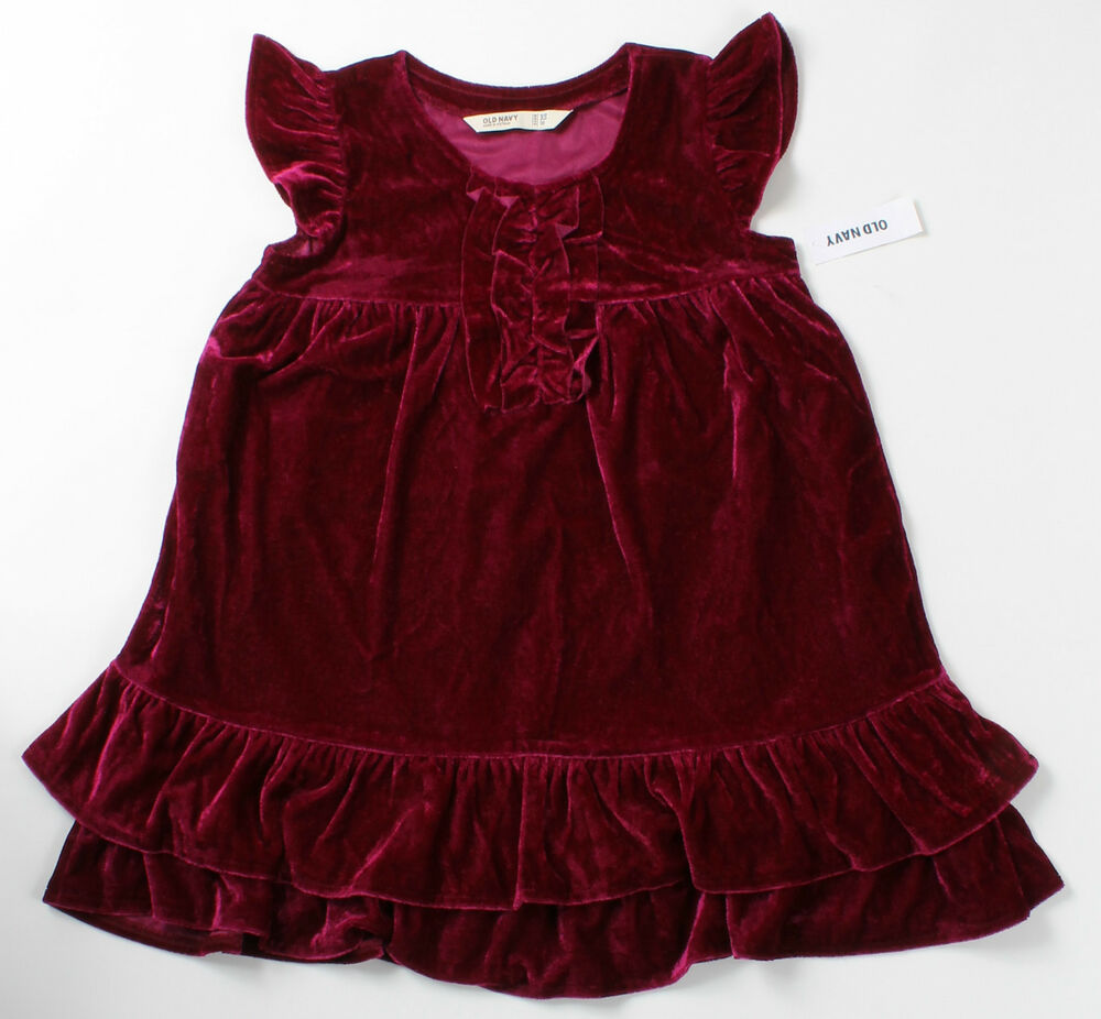 Holidays Dresses: NWT Girls Size 5 OLD NAVY Magenta Velour Christmas Holiday