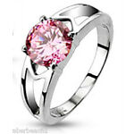 316L Stainless Steel CZ Prong Set Solitaire Hollow Ring Pink 1.25 Carat