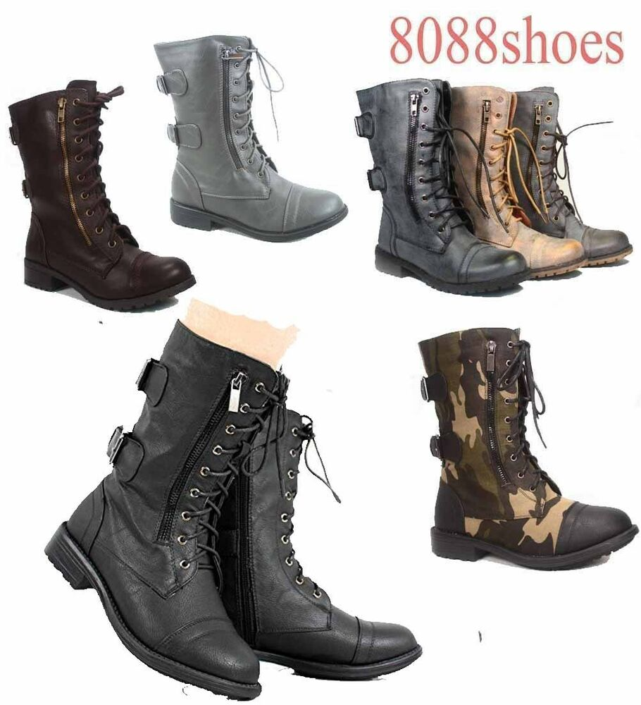 Women's Cute Mid Calf Zipper Low Heel Combat Military Lace ...