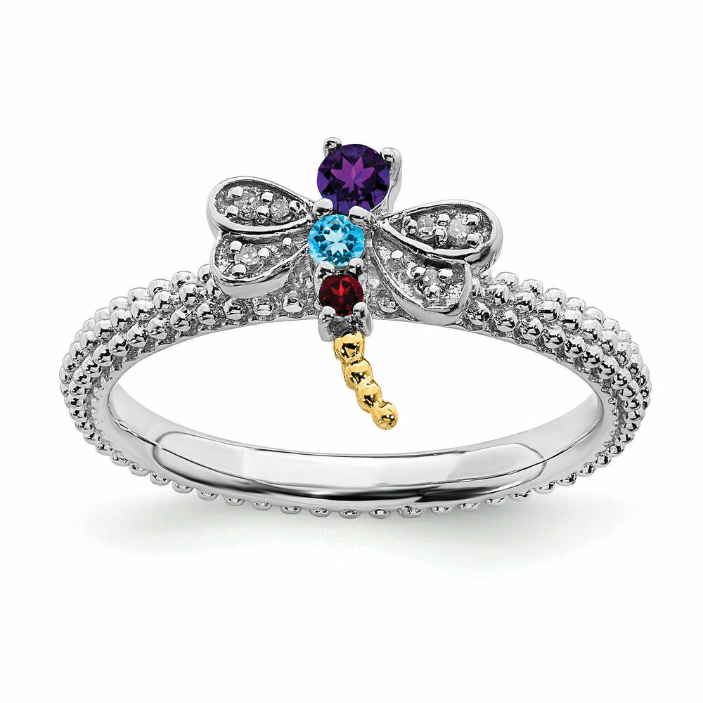 silver dragonfly ring multi color gemstones birthstone