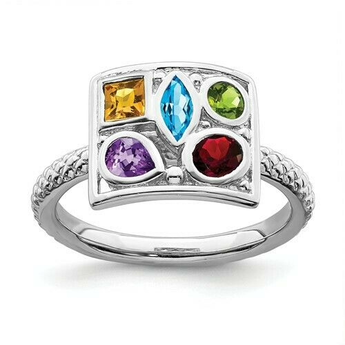 sterling silver ring multi color gemstones birthstone