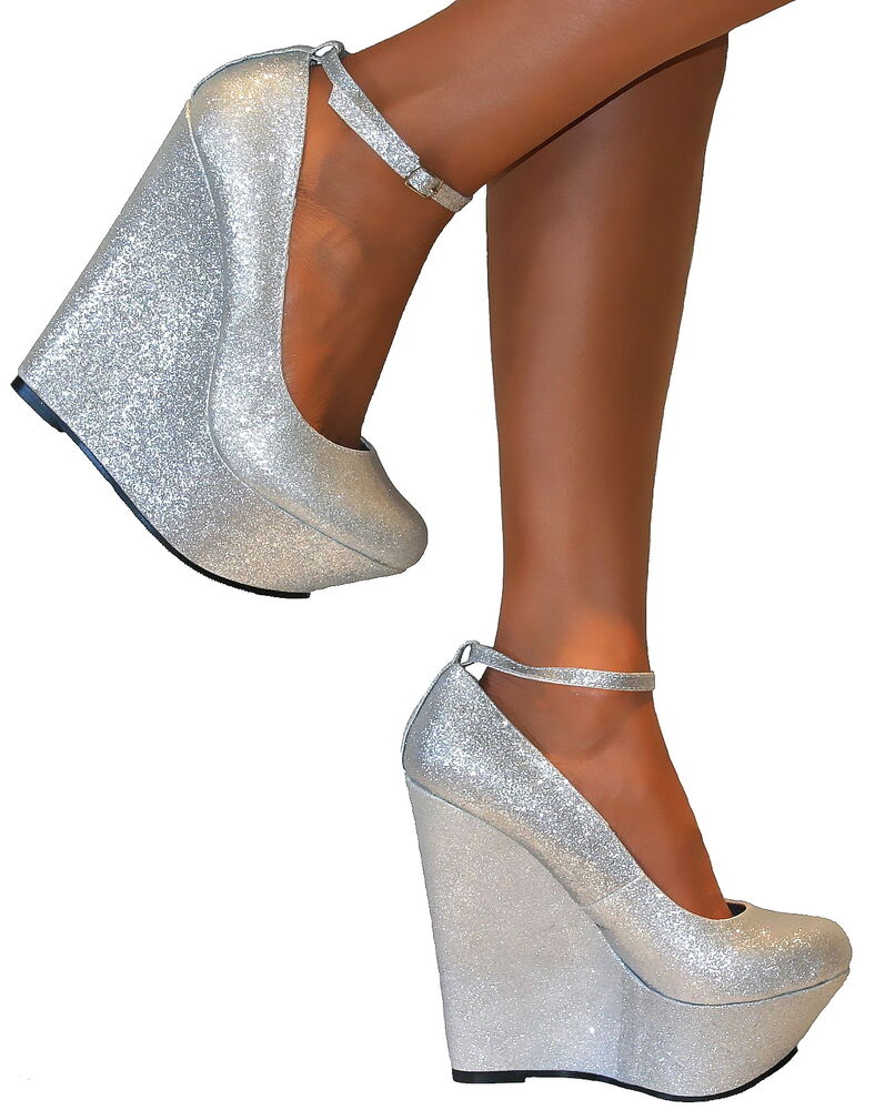 LADIES SILVER GLITTERY PLATFORM WEDGE HIGH HEELS ANKLE