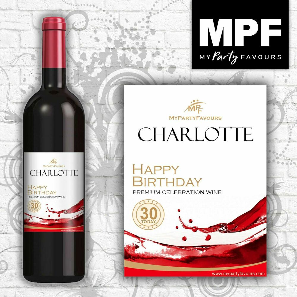 Details about 9 Personalised Wine Bottle Labels - Birthday 'Splash' Design (Mini 187ml Size)