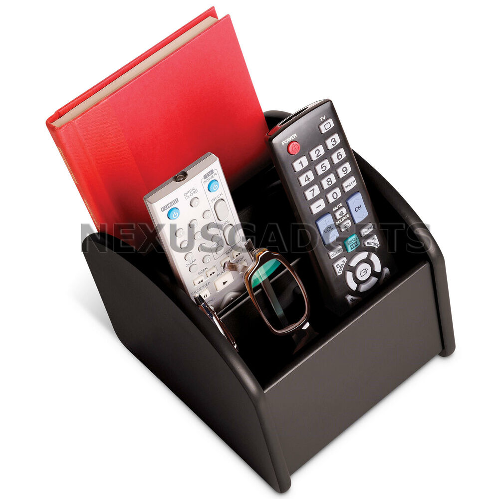 tv remote control caddy brown wood revolving storage holder wooden compartments ebay. Black Bedroom Furniture Sets. Home Design Ideas