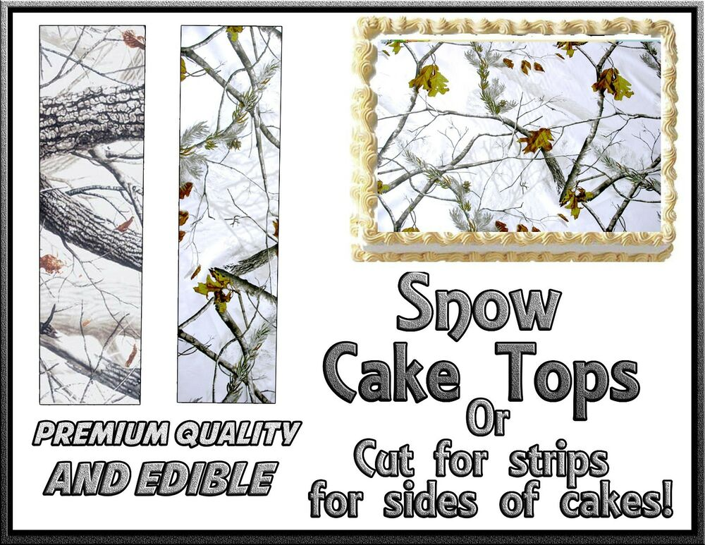Snow Camouflage Cake Topper Edible Sugar Frosting Icing