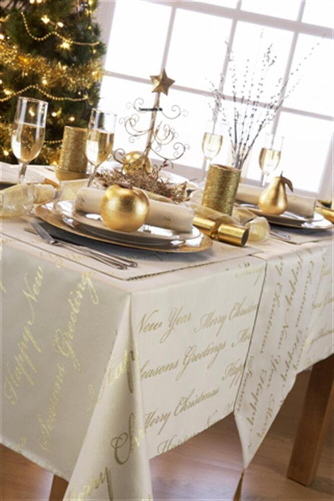 New Christmas Tablecloths Wine Cream White Gold Silver