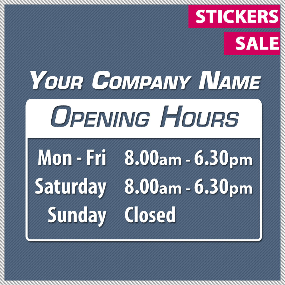 Custom Opening Trading Hours Vinyl Lettering Sticker Decal