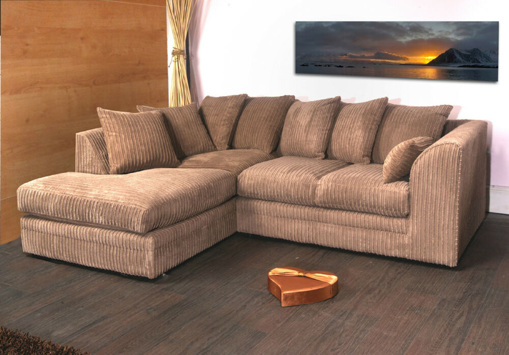 dylan jumbo cord coffee biscuit fabric corner group sofa l. Black Bedroom Furniture Sets. Home Design Ideas