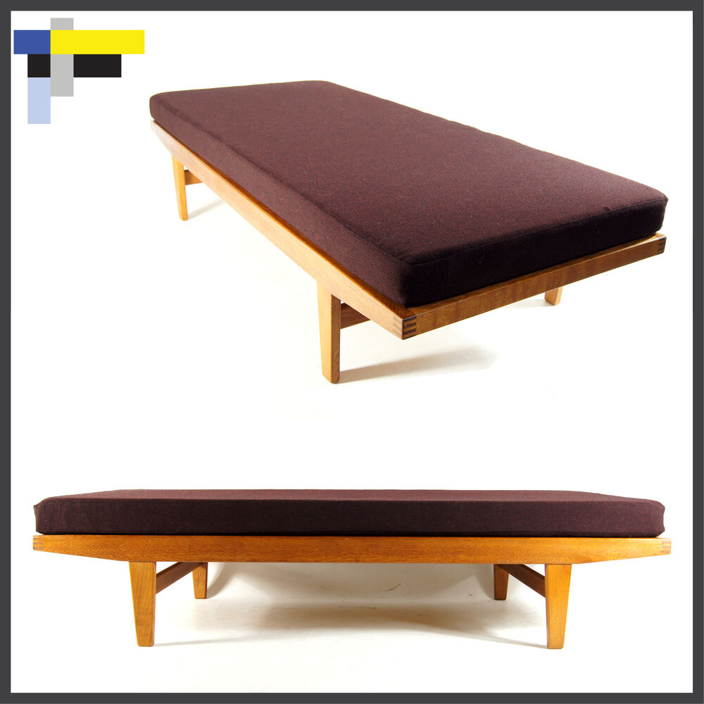 Retro vintage danish oak day bed sofa chair 3 seat for Sofa bed 60s