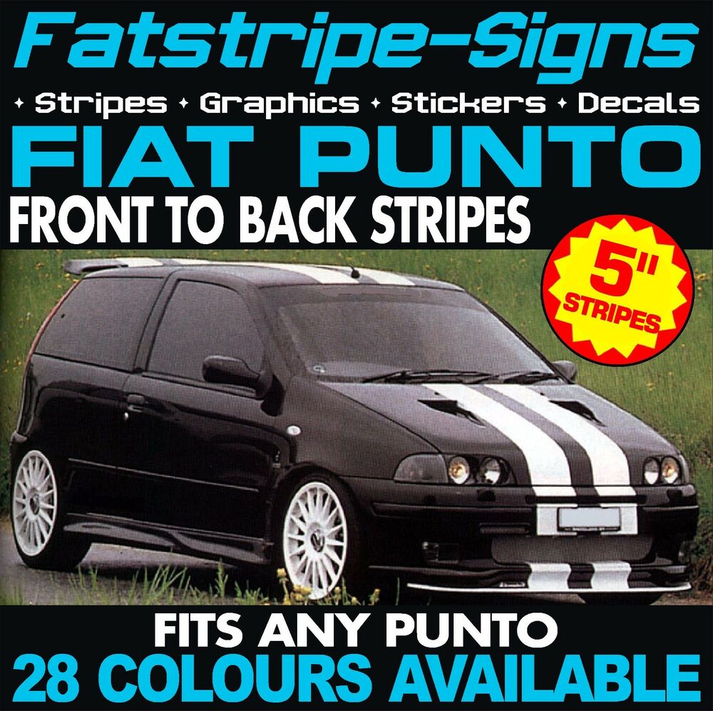 fiat punto stripes car graphics stickers decals abarth evo grande 1 2 1 4 2 0 ebay. Black Bedroom Furniture Sets. Home Design Ideas