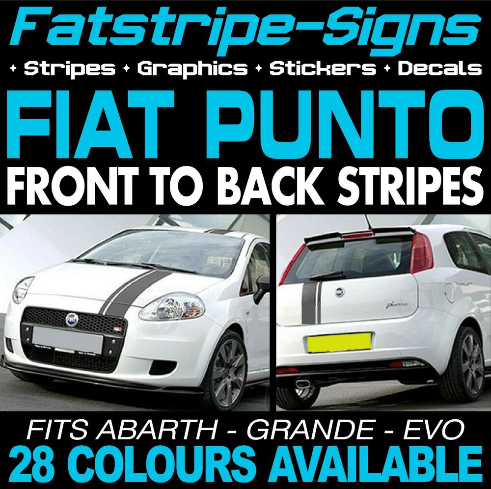 fiat punto stripes graphics car decals stickers evo grande abarth 1 2 1 4 2 0 ebay. Black Bedroom Furniture Sets. Home Design Ideas