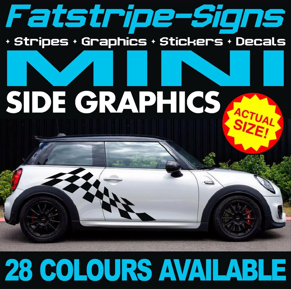 Mini Checker Car Graphics Stripes Decals Stickers Cooper S
