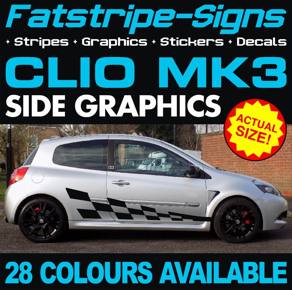renault clio car vinyl graphics stickers stripes decals sport 172 182 192 f1 2 0 ebay. Black Bedroom Furniture Sets. Home Design Ideas