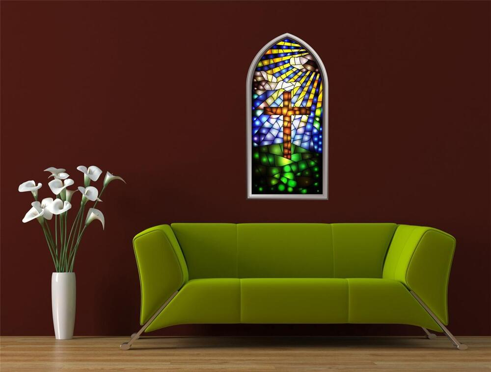 Wall art sticker full colour stained glass window for Adhesive wall decoration