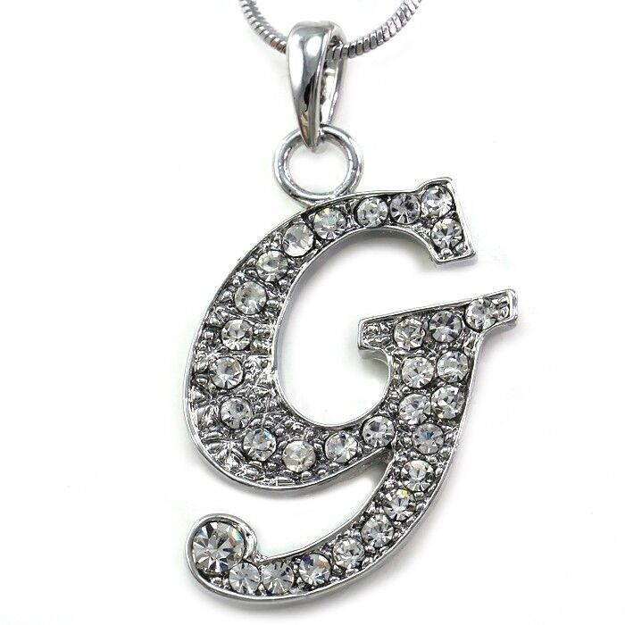 Alphabet Jewelry: Alphabet Initial Letter G Pendant Necklace Charm Silver