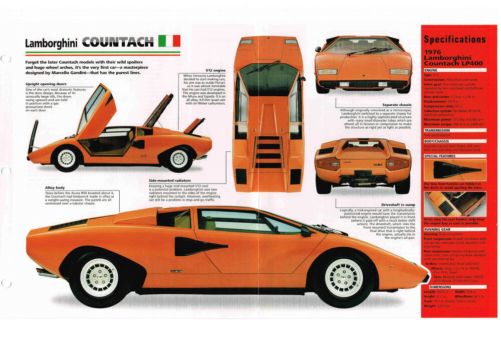 1974 1978 Lamborghini Countach Spec Sheet Brochure 1976