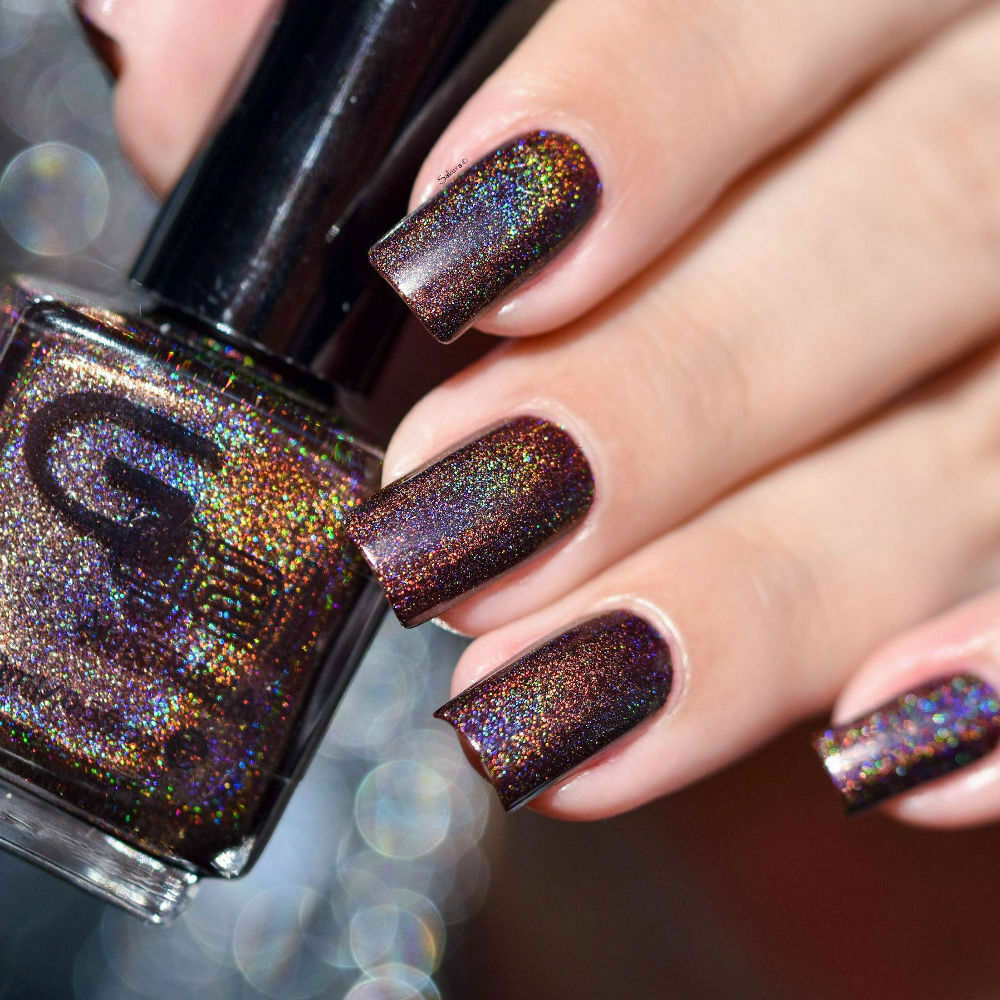 Glitter Gal - Belgian Chocolate - Brown Holographic Holo 3D Nail ...