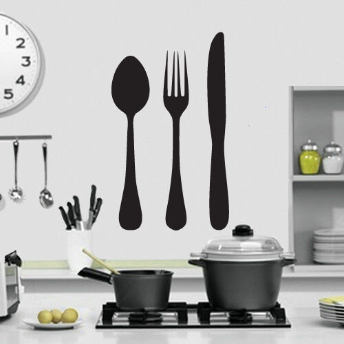 Knife fork and spoon kitchen wall art design kitchen for Contemporary kitchen wall art