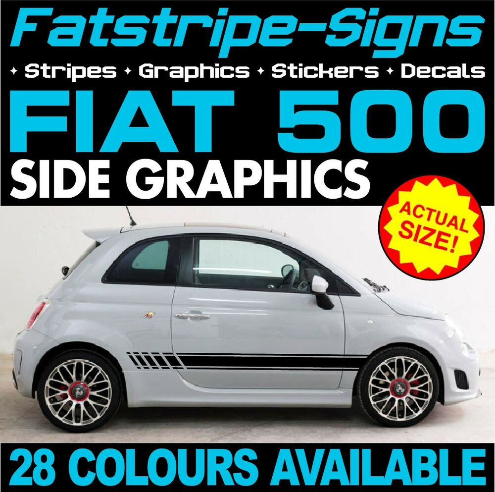 fiat 500 car vinyl graphics stripes decals stickers abarth 1 0 1 2 1 4 1 6 turbo ebay. Black Bedroom Furniture Sets. Home Design Ideas
