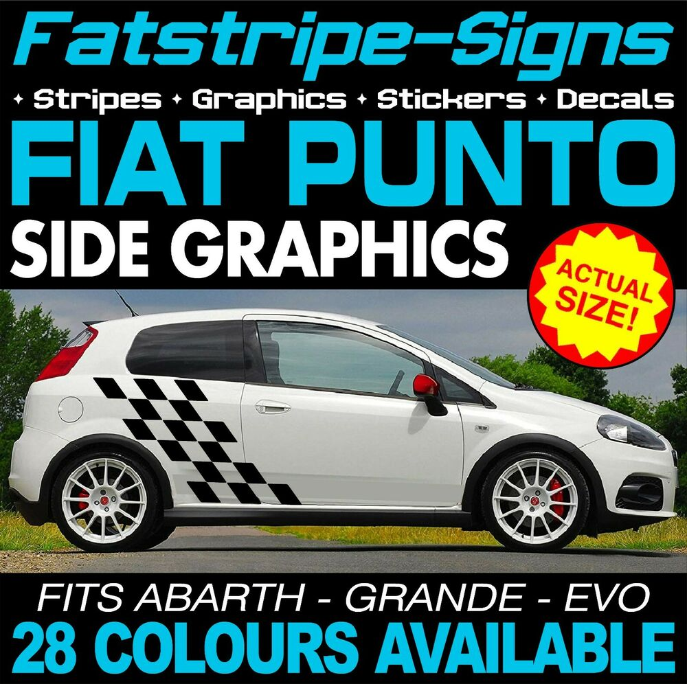 fiat punto graphics stripes car decals stickers abarth evo grande 1 2 1 4 2 0 ebay. Black Bedroom Furniture Sets. Home Design Ideas