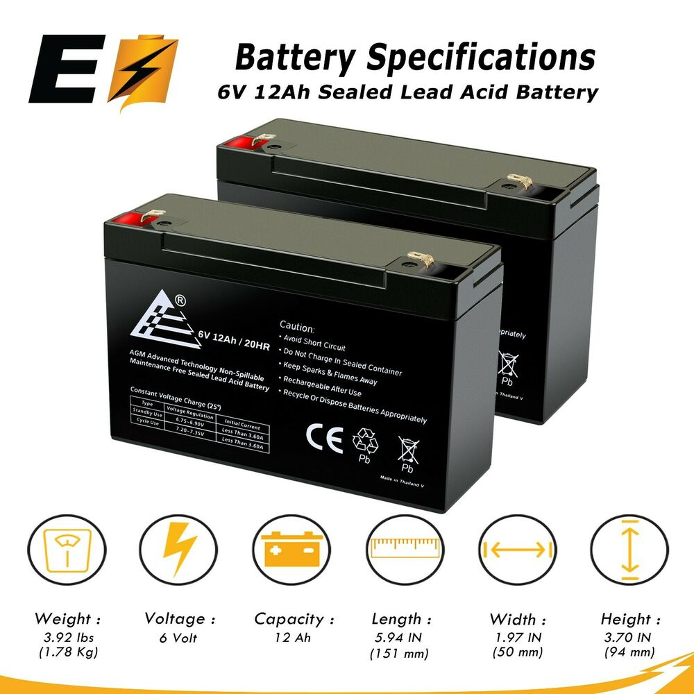combo of 2 6v 12ah 6 volt 12 amp hour sealed lead acid battery ub6120 ebay. Black Bedroom Furniture Sets. Home Design Ideas