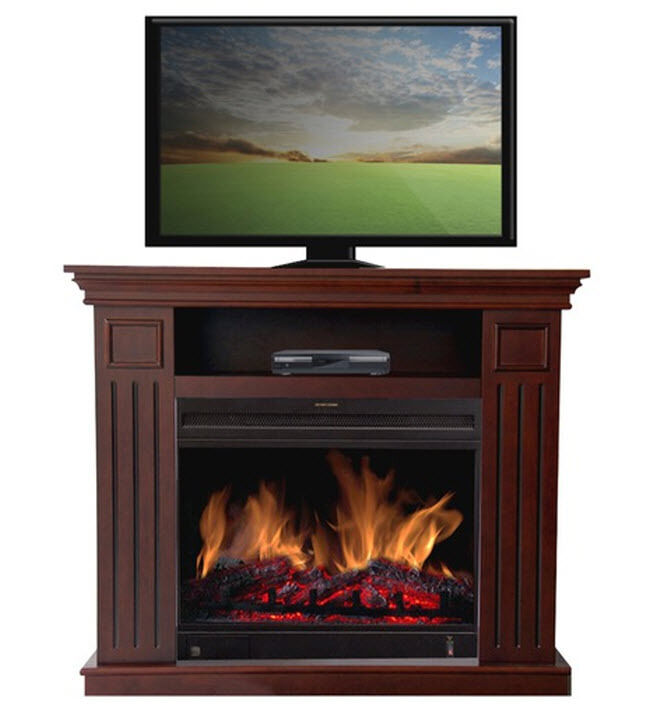 Cherry Wood Tv Fireplace Heater Media Console Storage Stand Entertainment Center Ebay