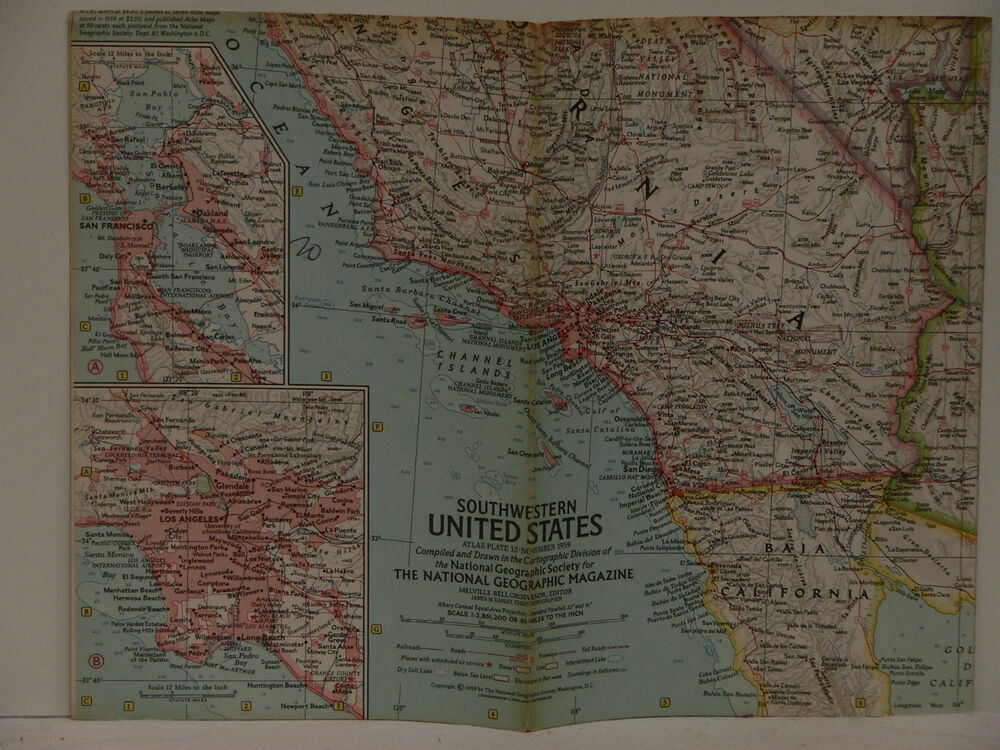 Vintage 1959 National Geographic Map Of Southwestern United States - National-geographic-us-map