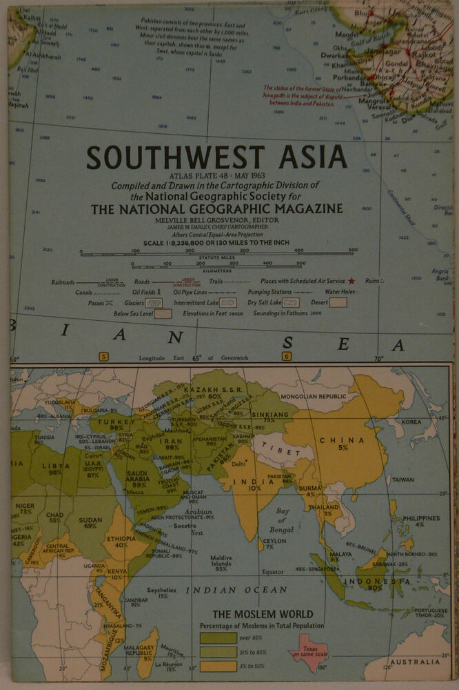Vintage 1963 National Geographic Map of Southwest Asia eBay