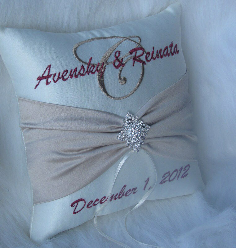 Monogram Wedding Ring Bearer Pillow: Personalized Wedding Ring Bearer Pillow Winter Snowflake